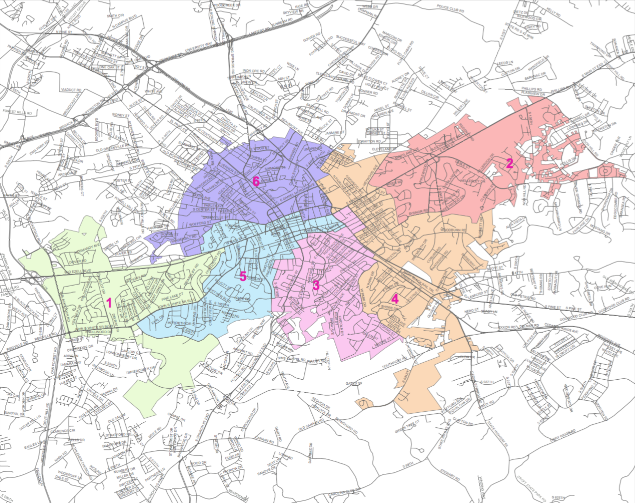 Spartanburg City Council Districts map