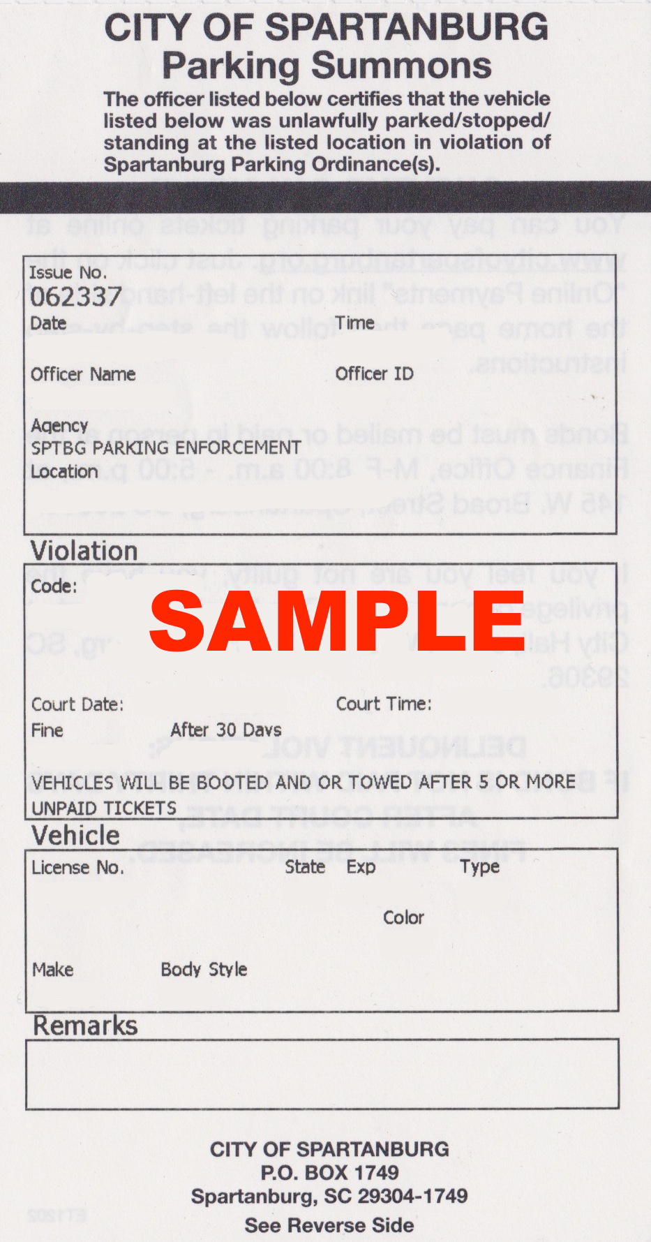 parking ticket example