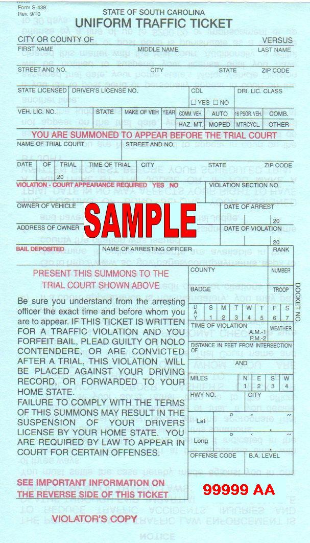 Traffic Ticket sample