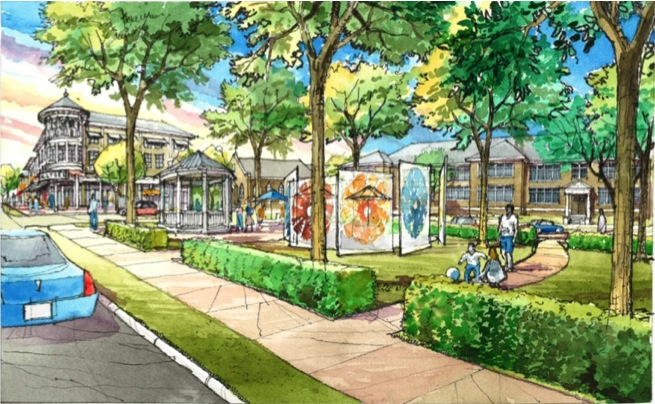 A rendering of the proposed Northside community gateway approaching from the north on Church Street.