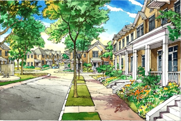 A street-level rendering of proposed mixed-income residential housing in the Northside.