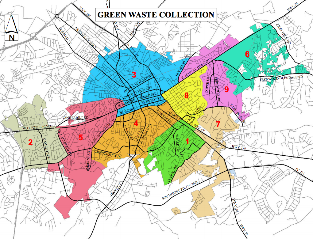 Greenwaste pickup zone map